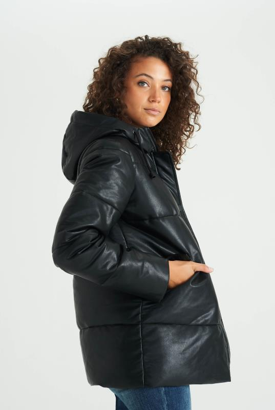 Black Vegan Leather Padded Jacket