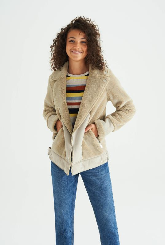 Tall Jackets Beige Soft Borg Biker Jacket