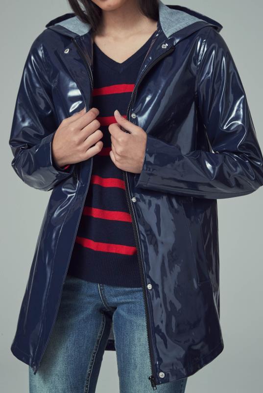 Navy High Shine Hooded Coat