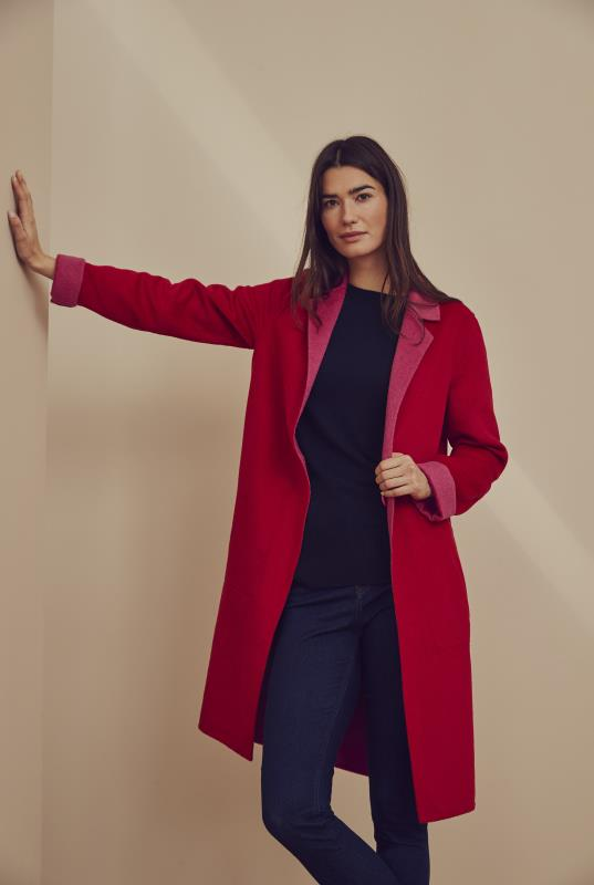 Red & Pink Reversible Double Faced Coat