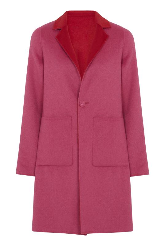 Pink and Red Hand Finished Reversible Double Faced Coat