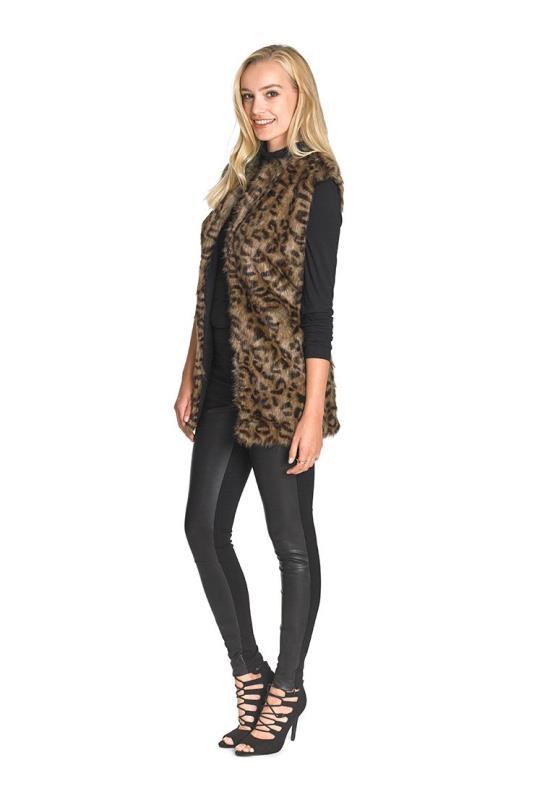 Tall Gilets Faux Fur Animal Print Gilet