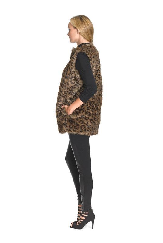 Faux Fur Animal Print Gilet