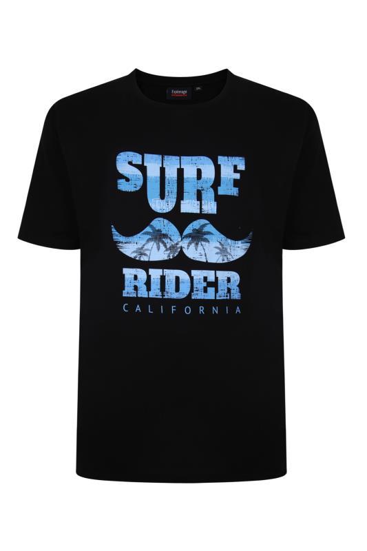 Plus Size  ESPIONAGE Black Surf Rider Print T-Shirt