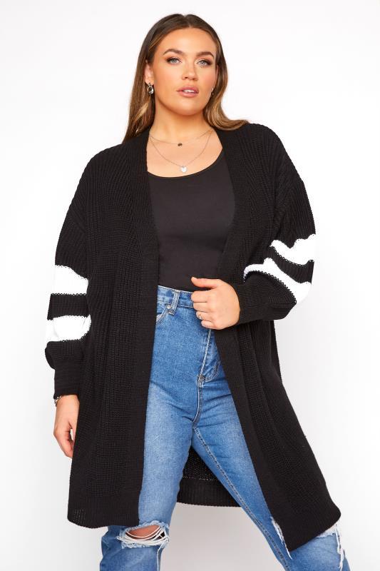 Black Varsity Stripes Knitted Cardigan_A!.jpg