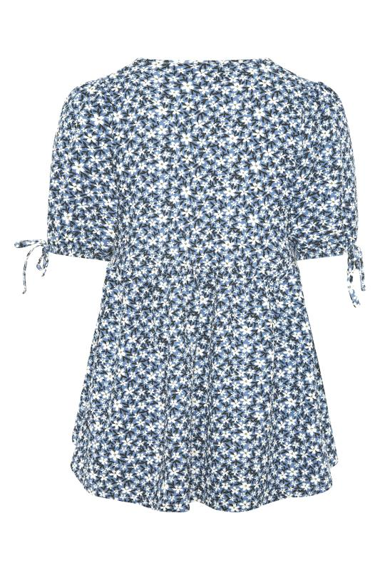 LIMITED COLLECTION Blue Floral Wrap Front Smock Top_BK.jpg