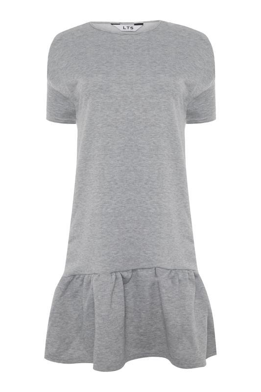 LTS Light Grey Marl Jersey Sweat Frill Hem Dress_F.jpg