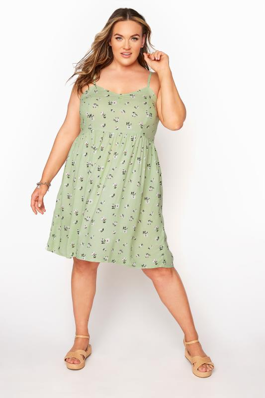 Green Ditsy Floral Strappy Dress_A.jpg