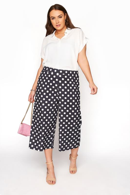 Plus Size  YOURS LONDON Black Polka Dot Wide Leg Culottes