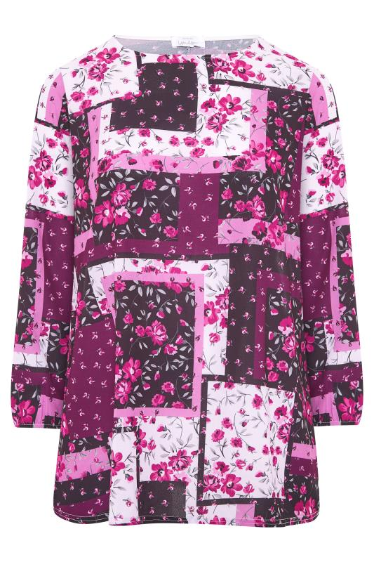 YOURS LONDON Pink Floral Patchwork Blouse_F.jpg