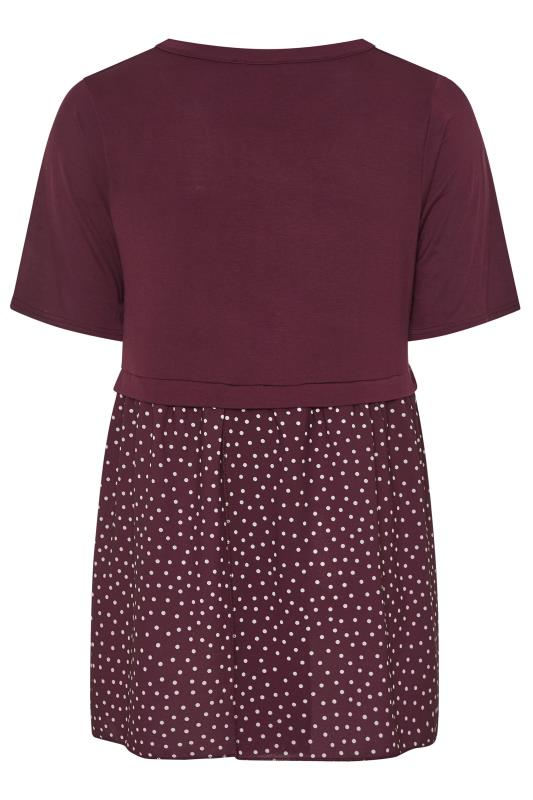 LIMITED COLLECTION Burgundy Polka Dot Hem Smock Top