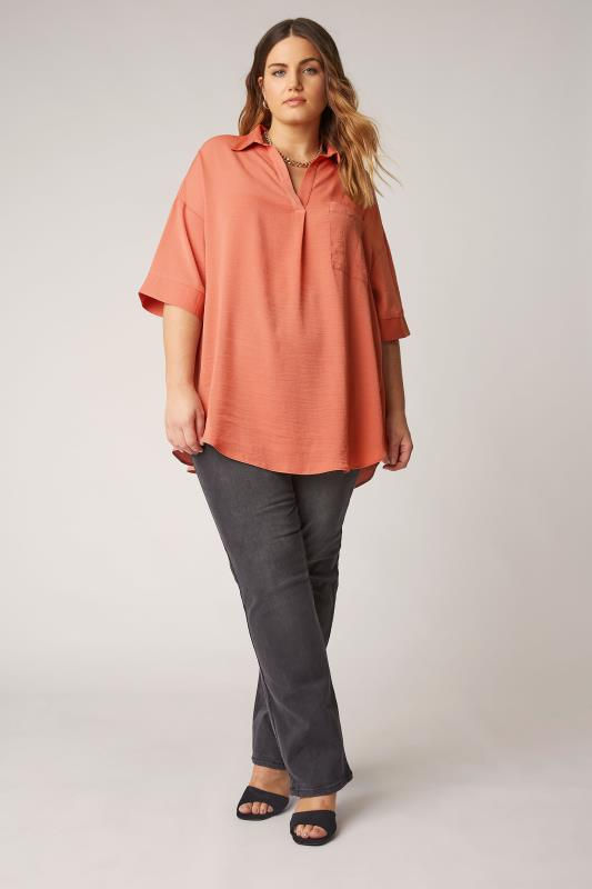 THE LIMITED EDIT Orange Pleated Front Top_B.jpg