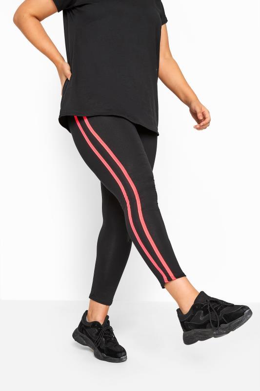 LIMITED COLLECTION - Legging met strepen in zwart-neon roze