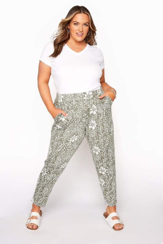 Plus Size  Khaki Floral Print Pleated Harem Trousers