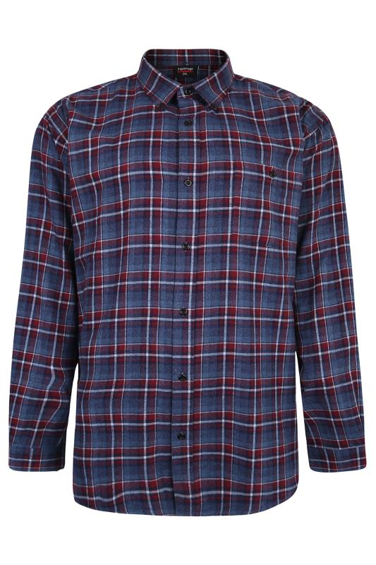 Großen Größen Casual / Every Day ESPIONAGE Blue & Red Check Brushed Cotton Shirt