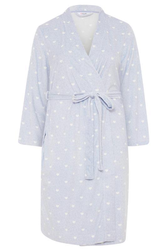 Powder Blue Flannel Fleece Heart Dressing Gown_F.jpg