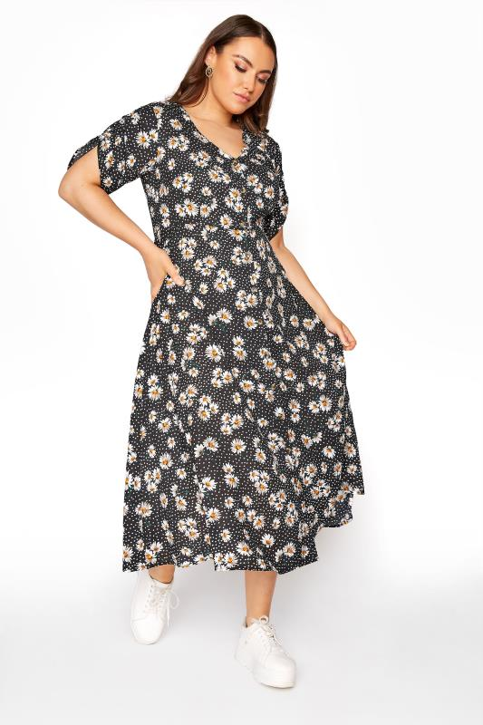 LIMITED COLLECTION Black Daisy Ruched Maxi Dress