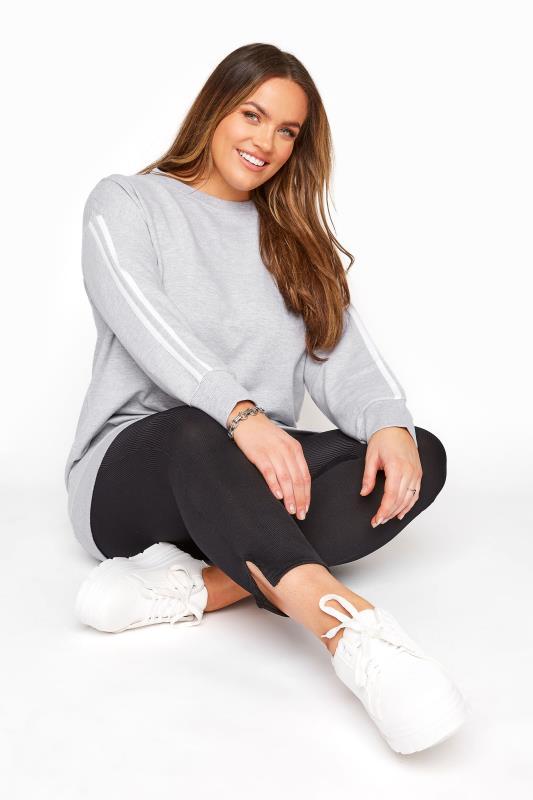 Plus Size  Grey Side Stripe Varsity Sweatshirt