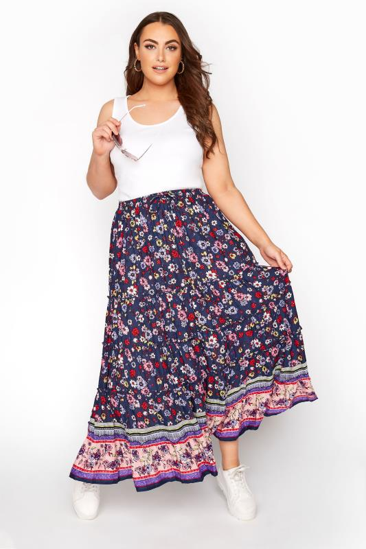 Plus Size  Navy Floral Tiered Gypsy Skirt