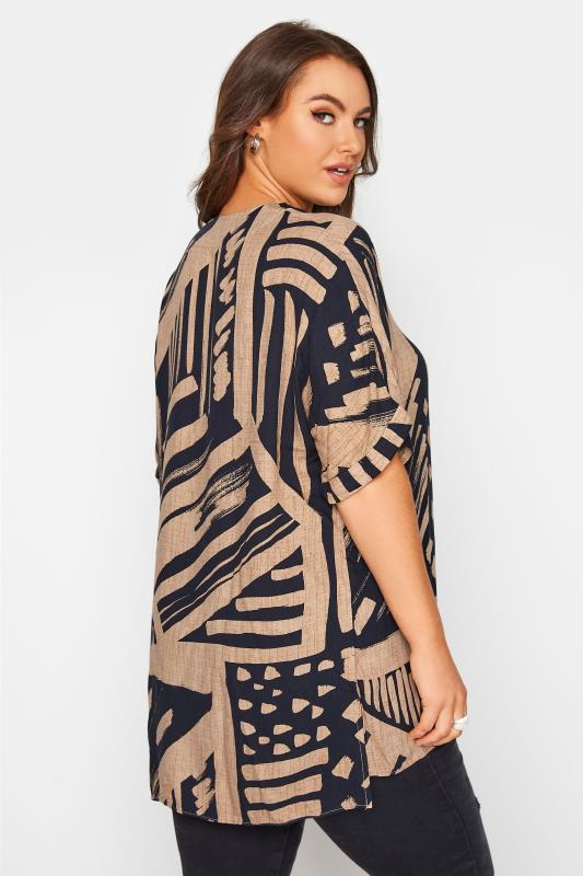 Mocha Brown Abstract V-Neck Pleated Front Shirt_C.jpg
