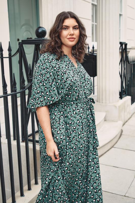 THE LIMITED EDIT Teal Leopard Print Shirt Maxi Dress_L.jpg