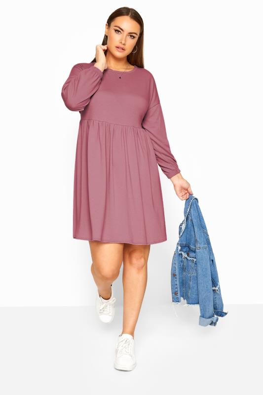 LIMITED COLLECTION Dusky Pink Peplum Sweatshirt Dress