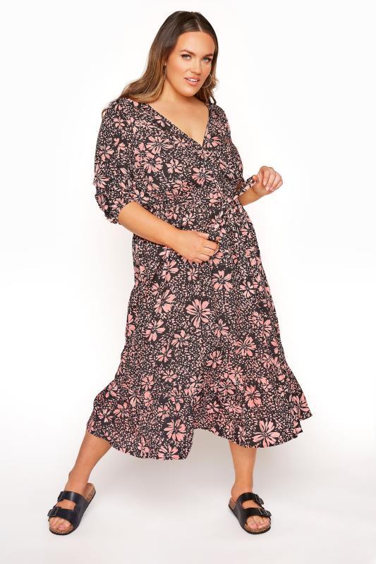 Plus Size Floral Dresses LIMITED COLLECTION Pink Floral Frill Hem Wrap Midi Dress
