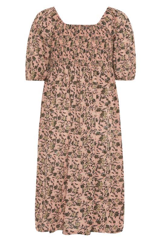 Pink Floral Shirred Front Split Hem Midi Dress_BK.jpg