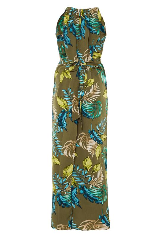 Khaki Leaf Print Halterneck Maxi Dress_BK.jpg