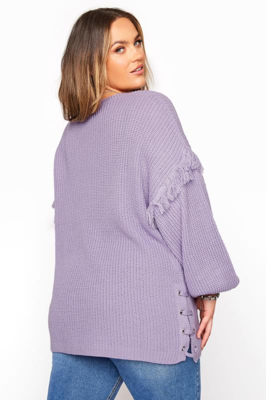 Lilac Purple Tassel Sleeve Chunky Knitted Jumper_C.jpg