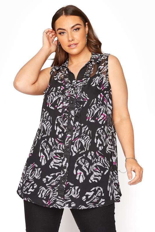 Black and White Floral Print Frill Front Sleeveless Shirt_A.jpg