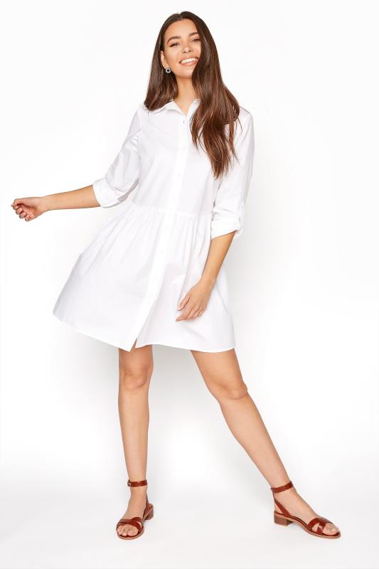 Tall  LTS White Smock Turn Up Sleeve Cotton Shirt