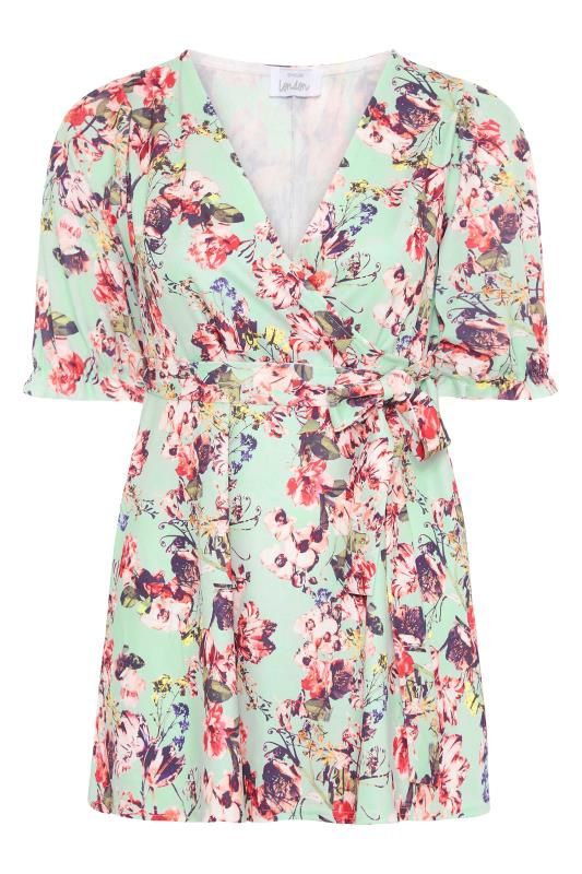 YOURS LONDON Sage Green Floral Puff Sleeve Wrap Top_F.jpg