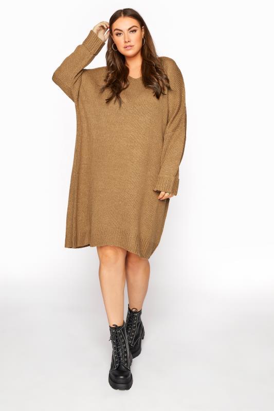 Camel Drop Sleeve Knitted Jumper Dress_E.jpg