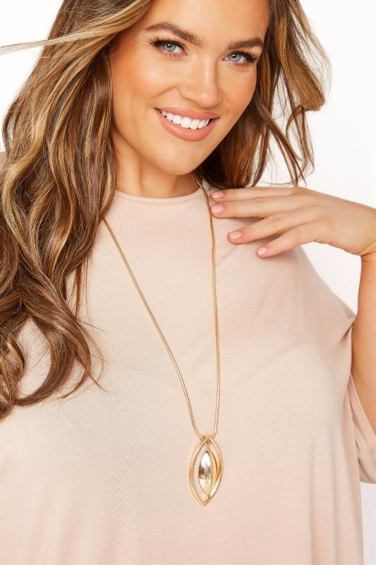 Plus Size  Gold Oval Pendant Necklace
