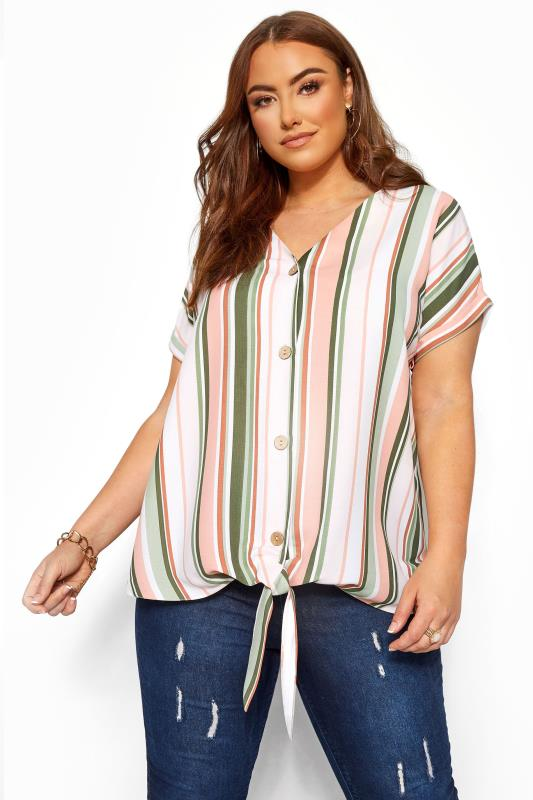 Plus Size Blouses Green & Pink Stripe Tie Front Blouse