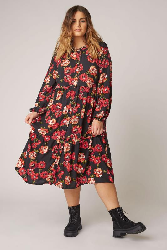 Plus Size  THE LIMITED EDIT Black Floral Smock Tiered Shirt Dress