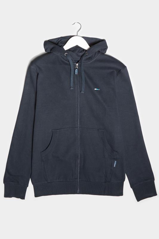 Casual / Every Day dla puszystych BadRhino Navy Essential Zip Through Hoodie