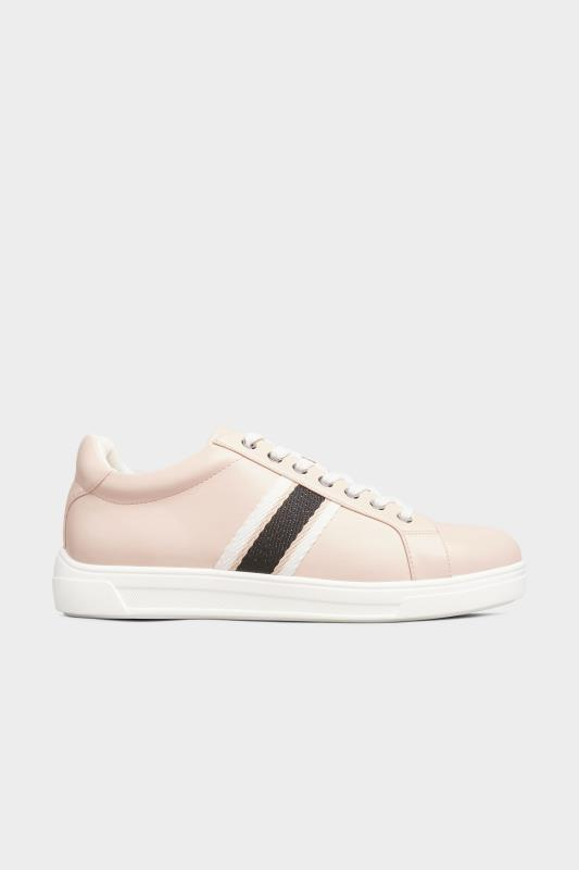 Pink Vegan Faux Leather Stripe Trainers In Extra Wide Fit_A.jpg