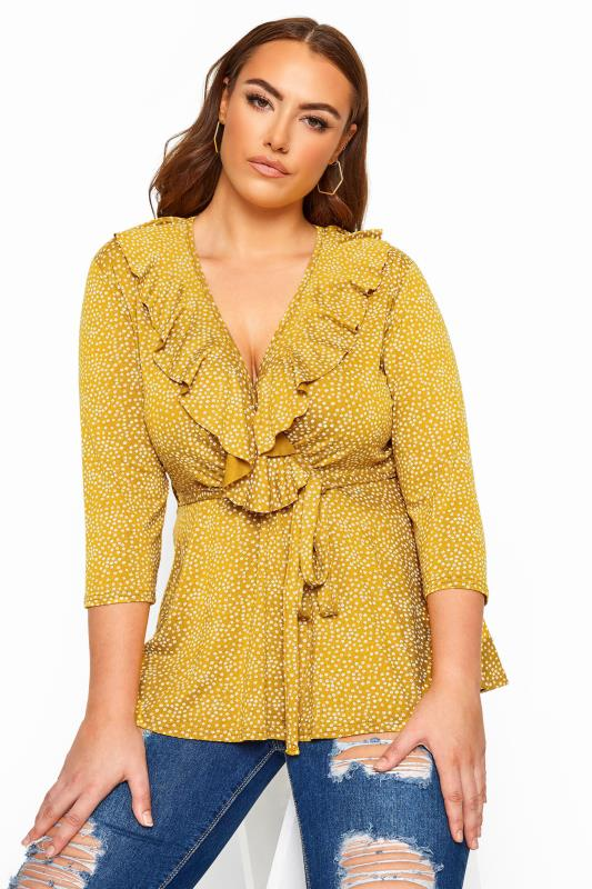 Plus Size Wrap Tops LIMITED COLLECTION Mustard Yellow Ditsy Daisy Print Wrap Top