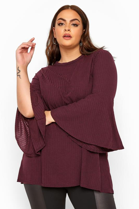 Plus Size Day Tops LIMITED COLLECTION Plum Ribbed Flare Sleeve Top