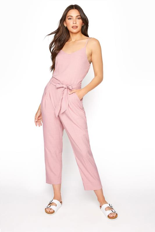 LTS Pink Sleeveless Belted Jumpsuit
