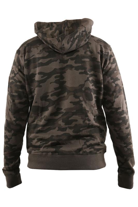 D555 Khaki Camo Printed Zip Hoodie