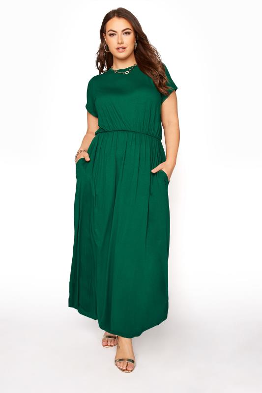 YOURS LONDON Forest Green Pocket Midaxi Dress_A.jpg