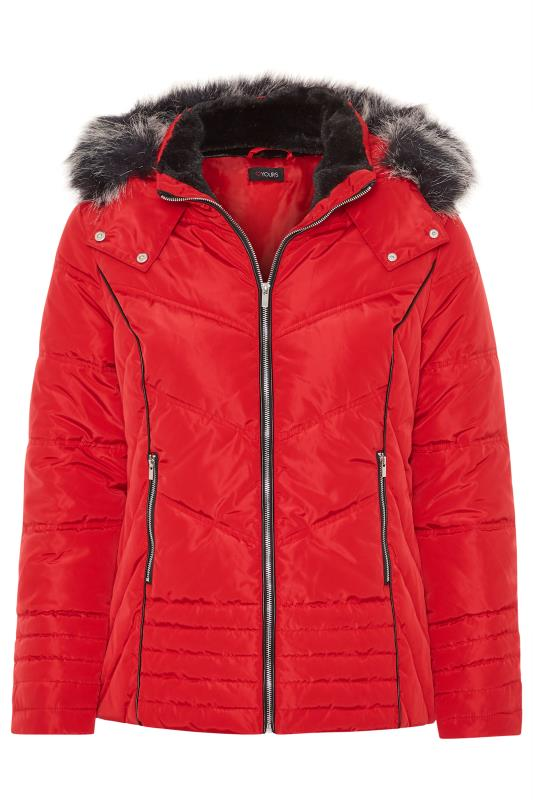 Red PU Trim Panelled Puffer Jacket