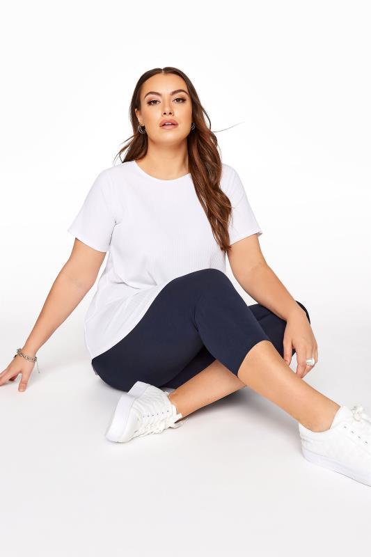 Plus Size Cropped & Short Leggings Navy Cotton Essential Cropped Leggings