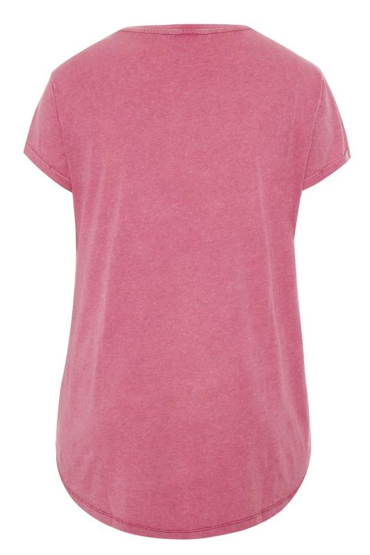 Pink Acid Wash Stud Star T-Shirt