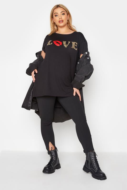 LIMITED COLLECTION Black Animal Print 'Love' Slogan T-Shirt_B.jpg