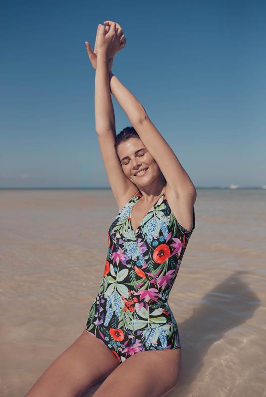Black Flower Print Swimsuit