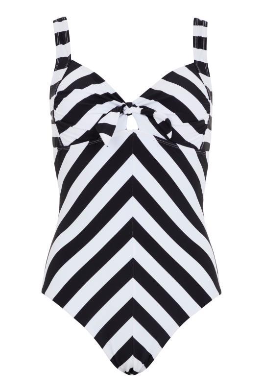Chevron Stripe Knot Front Swimsuit
